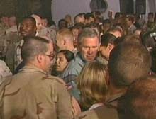W. greets the troops in Iraq