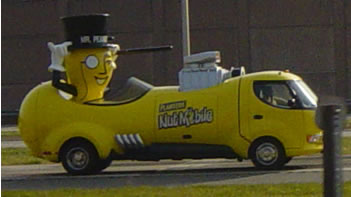 Mr. Peantu isn't really driving the nutmobile. We hope.