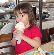 Rebecca and ice cream cone