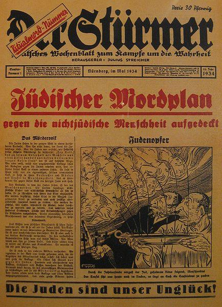 Photo of anti-Semitic Nazi propaganda rag with blood libel image