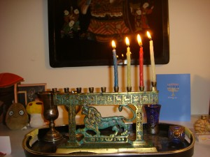 Menorah, third night